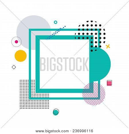 Frame And Geometric Pattern Made Of Circle And Squares Of Different Sizes, Dots And Lines On Vector