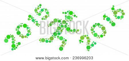 Run To 2016 Year Mosaic Icon Of Dots In Variable Sizes And Fresh Green Color Hues. Vector Round Dots