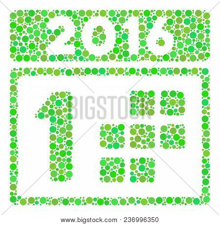 2016 First Calendar Day Composition Icon Of Dots In Variable Sizes And Fresh Green Color Tones. Vect