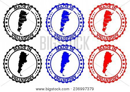 Made In Argentina - Rubber Stamp - Vector, Argentina Map Pattern - Black, Blue And Red