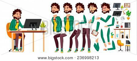 Office Worker Vector. Face Emotions, Various Gestures. Animation Creation Set. Business Person. Care