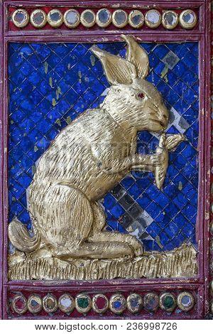 Rabbit Mosaic  Blue Gold Vibrant Architecture Wat Thailand