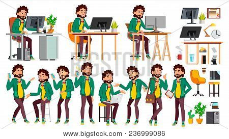 Office Worker Vector. In Action. Businessman Worker. Happy Job. Partner, Clerk, Servant, Employee Is