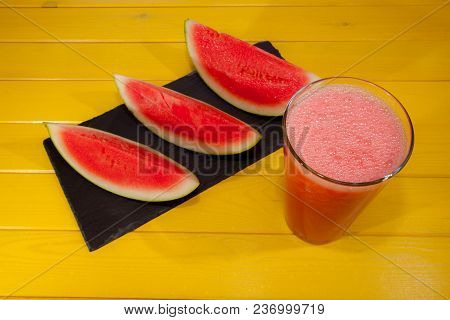 Watermelon Crush Drink. Refreshing Chilled Summer Smoothie. Cooling Pink Drink On Yellow Table. Vibr