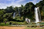 Ban Gioc Waterfall(Veitnam name) or Detian waterfall(Chinese name) Waterfall is the most magnificent waterfall in Vietnam, located in the border of Guangxi, China and Cao Bang , Vietnam. poster
