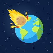 Asteroid comet hits Earth in end of world doomsday scenario. Global catastrophe event. Cartoon style vector illustration. poster
