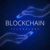 Blockchain technology on futuristic hud background with glowing polygon hands and blockchain slogan peer to peer network. Global cryptocurrency blockchain business banner concept. poster