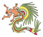 Quetzalcoatl in feathered serpent form, eating a man. God of Wind and Wisdom. Deity as depicted in an Aztec manuscript painting from the sixteenth century. Illustration on white background. Vector. poster