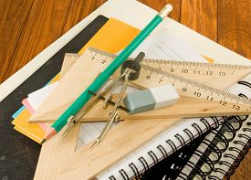 Image Of Notebooks, Ruler And Pencil Closeup