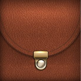 Brown leather bag with fastener abstract background - raster version
