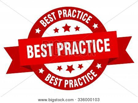 Best Practice Ribbon. Best Practice Round Red Sign. Best Practice