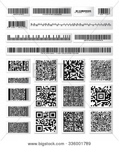 Barcode Collection On Paper Strops With A Random Set Of Characters. Qr  Code Information, Code Bar S