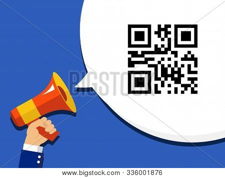 Hand Holding Megaphone With Qr Code Encoded Sale Information In Bubble Speech. Flat  Icon On Pop Art