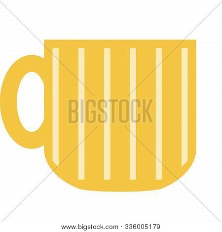 Yellow Beer Mug In A Flat Style On A White Background