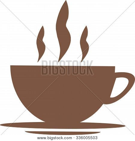 Brown Coffee Cup Icon On A White Background