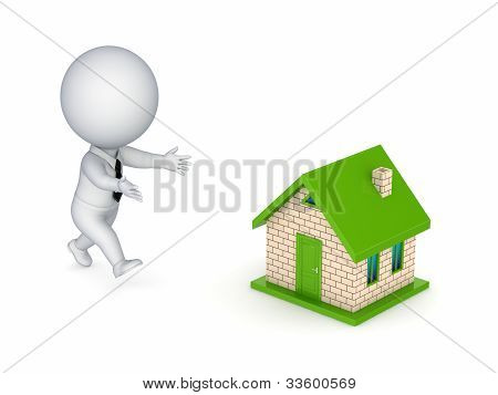 3d small person running to a small house.