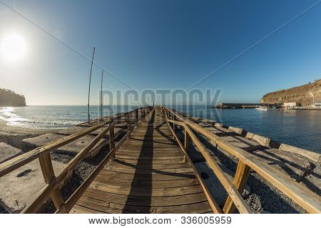 Early Morning Of Quiet Warm, Sunny Weather In The Beach And Harbor Of Playa De Santiago. Panoramic,