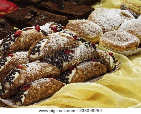 Sicilian Cannoli (cannoli Siciliani) Typical Italian Dessert Of Sicily