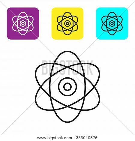 Black Line Atom Icon On White Background. Symbol Of Science, Education, Nuclear Physics, Scientific