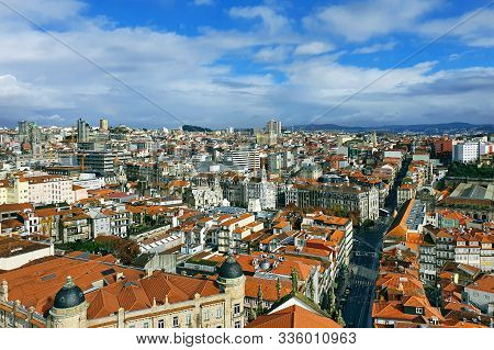 Porto Old Town Aerial View With Colorful Houses From Clerigos Tower, In Porto Portugal.