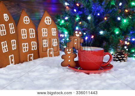 The Hand-made Eatable Gingerbread Houses, Snow Decoration,  Little Men And Cup Of Coffee, New Year T