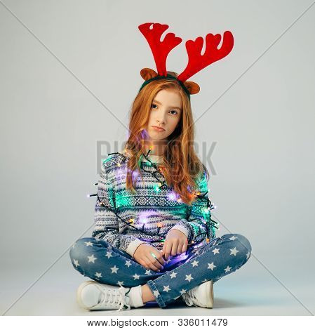 A Beautiful Red-haired Girl With Red Deer Horns Spoiled The Festivities. She Is Offended By Her Pare