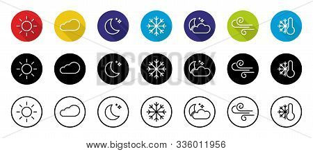 Weather Color Icons Set Isolated On White Background. Weather Storm Illustration Sun Rain Symbol Wea