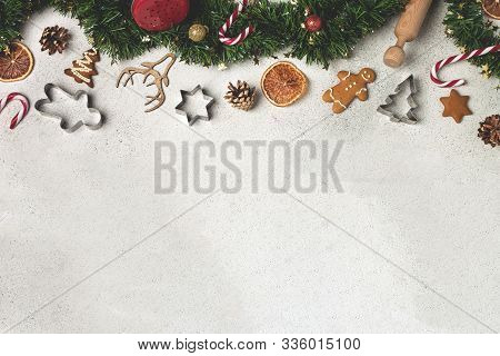 Christmas Composition Flat Lay, Tinsel, Gingerbread, Cookie Cutter, Candy Cane, Dried Orange, Orname
