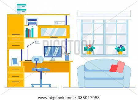 Neat And Clean Working Area In Apartment Room. Flat Office Flat Interior. Desk With Computer, Shelve
