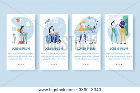 Medical Health Care For Pregnant Woman Flat Cartoon Banner Vector Illustration. Girl Waiting For Doc