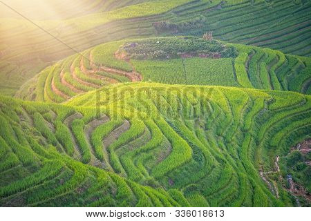 View Of Seven Stars Accompany The Moon Cascading Layered Rice Terraces Forming Part Of Longji Rice T