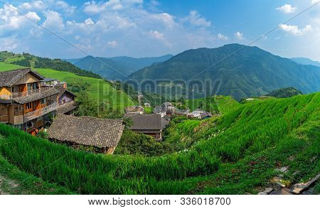 Panoramic View Of Seven Stars Accompany The Moon Cascading Layered Rice Terraces Forming Part Of Lon