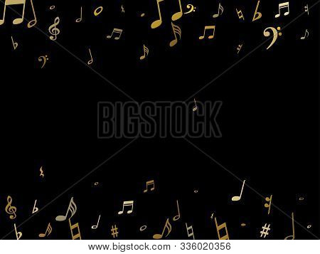 Gold Flying Musical Notes Isolated On Black Background. Fresh Musical Notation Symphony Signs, Notes