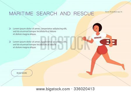 Landing Web Page Template Maritime Search And Rescue. Female Lifeguards, Professional Rescuer On The