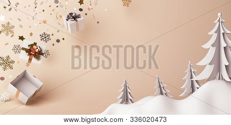 Winter Background, Winter Banner, Winter Abstract, Happy New Year 2020, Winter Snow, White And Gold