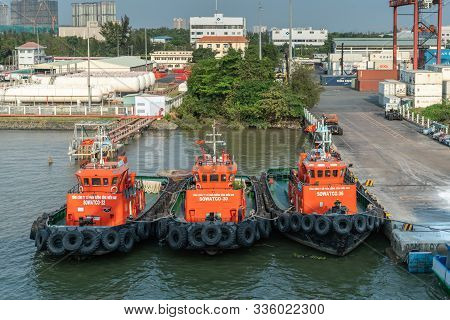Ho Chi Minh City, Vietnam - March 13, 2019: Vict Port On Song Sai Gon River At Sunset. Frontal Close