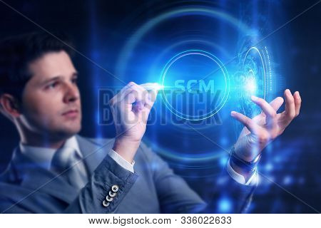 Business, Technology, Internet And Network Concept. Scm - Supply Chain Management