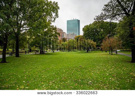 Boston, Ma: October 28, 2018: Boston Common. Boston Common Is The Oldest City Park In The United Sta
