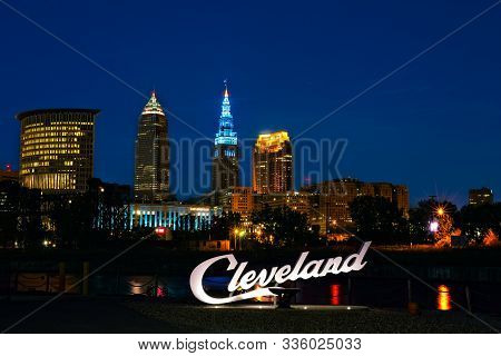 Cleveland, Oh - October 4, 2019: The Latest Of The Script Cleveland Signs Stands Across The Cuyahoga