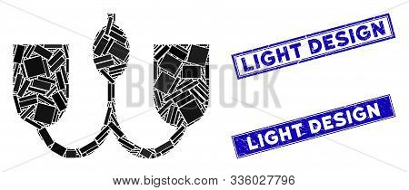 Mosaic Wall Fixture Icon And Rectangle Light Design Seal Stamps. Flat Vector Wall Fixture Mosaic Ico