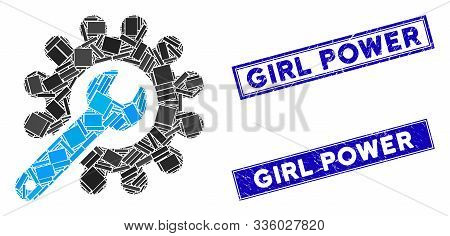Mosaic Customization Tools Pictogram And Rectangular Girl Power Seal Stamps. Flat Vector Customizati