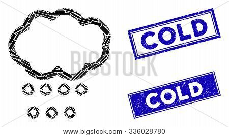 Mosaic Hail Weather Icon And Rectangle Cold Seals. Flat Vector Hail Weather Mosaic Icon Of Scattered