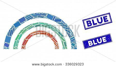 Mosaic Color Arc Pictogram And Rectangular Blue Seal Stamps. Flat Vector Color Arc Mosaic Pictogram