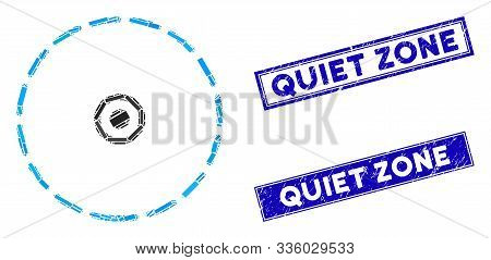 Mosaic Round Area Icon And Rectangle Quiet Zone Stamps. Flat Vector Round Area Mosaic Icon Of Random