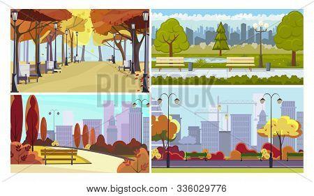 Town Parks Flat Vector Illustration Set. Autumn View, Benches, Cranes, Streetlight. Tourism And Natu