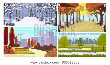 Town Parks In All Seasons Flat Vector Illustration Set. Autumn View, Benches, Christmas Tree, Street