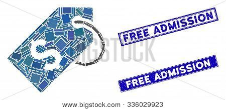 Mosaic Price Tag Icon And Rectangle Free Admission Seal Stamps. Flat Vector Price Tag Mosaic Icon Of
