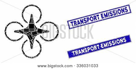Mosaic Nanocopter Icon And Rectangle Transport Emissions Seals. Flat Vector Nanocopter Mosaic Icon O