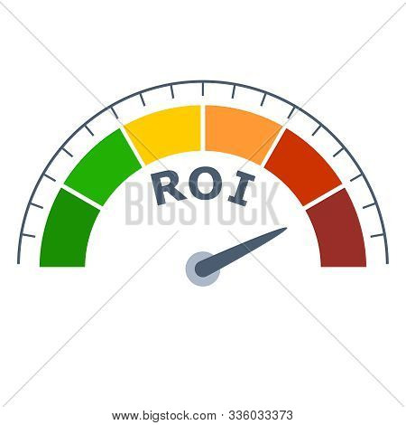 Color Scale With Arrow From Green To Red. The Measuring Device Icon. Sign Tachometer, Speedometer, I