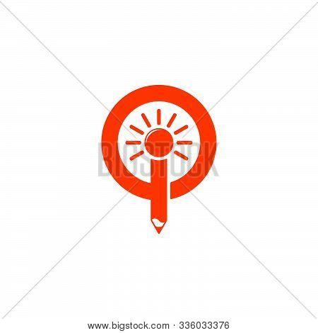 Letter Io Shine Pencil Education Symbol Logo Vector